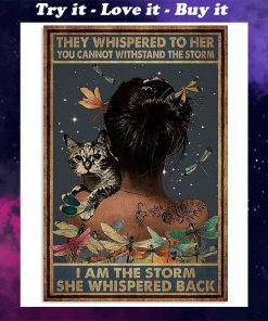 they whispered to her you can't withstand the storm dragonfly and cat retro poster