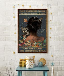 they whispered to her you can't withstand the storm dragonfly and cat retro poster 4