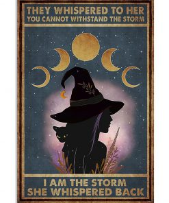 they whispered to her you can't withstand the storm witch girl and black cat retro poster 1
