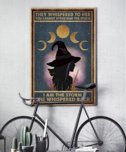 they whispered to her you can't withstand the storm witch girl and black cat retro poster 3