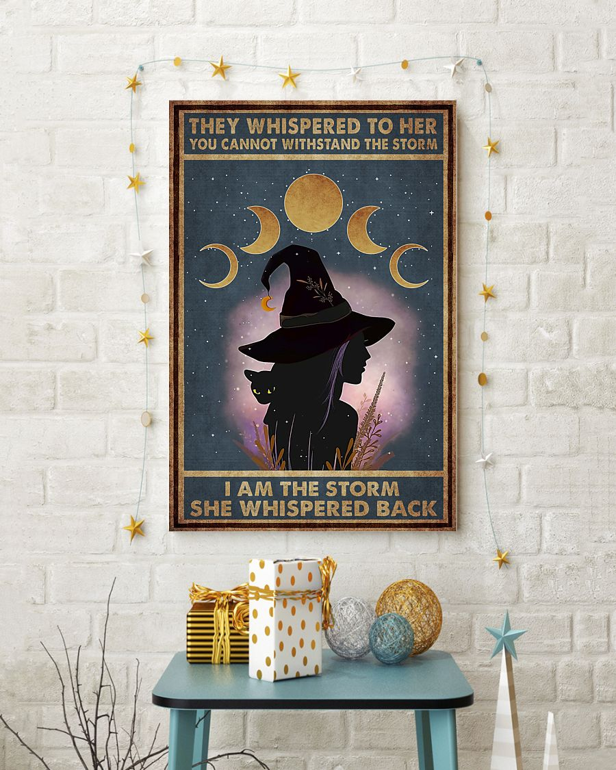 they whispered to her you can't withstand the storm witch girl and black cat retro poster 4