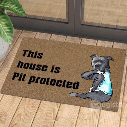 this house is pit protected i love mom tattoo doormat 1