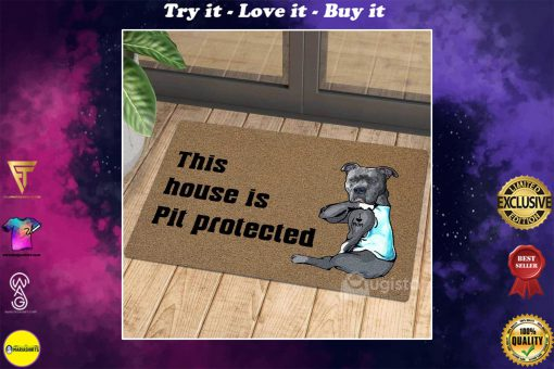 this house is pit protected i love mom tattoo doormat