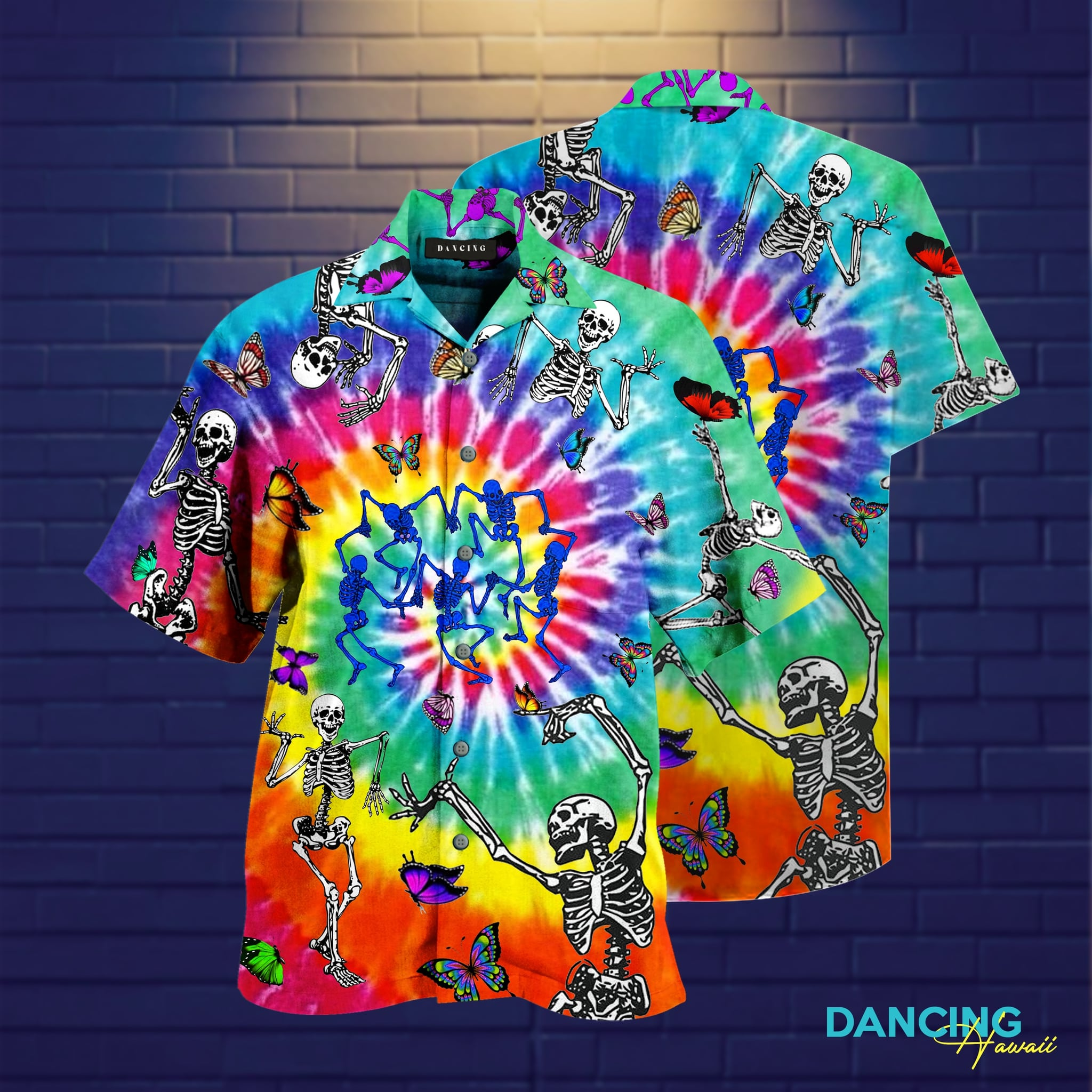 tie dye dancing skeletons full printing hawaiian shirt 1
