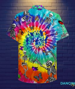tie dye dancing skeletons full printing hawaiian shirt 2