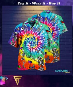 tie dye dancing skeletons full printing hawaiian shirt