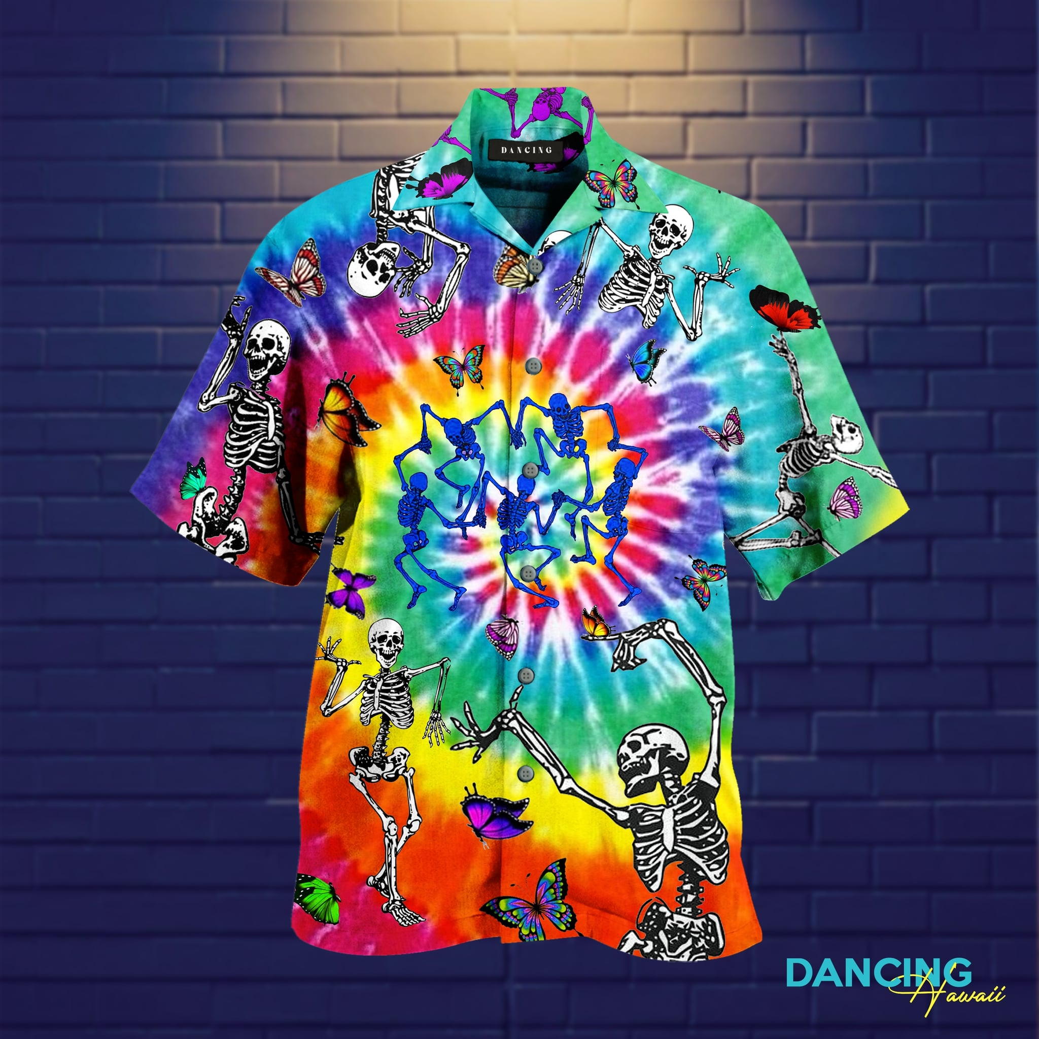 tie dye dancing skeletons full printing hawaiian shirt 3