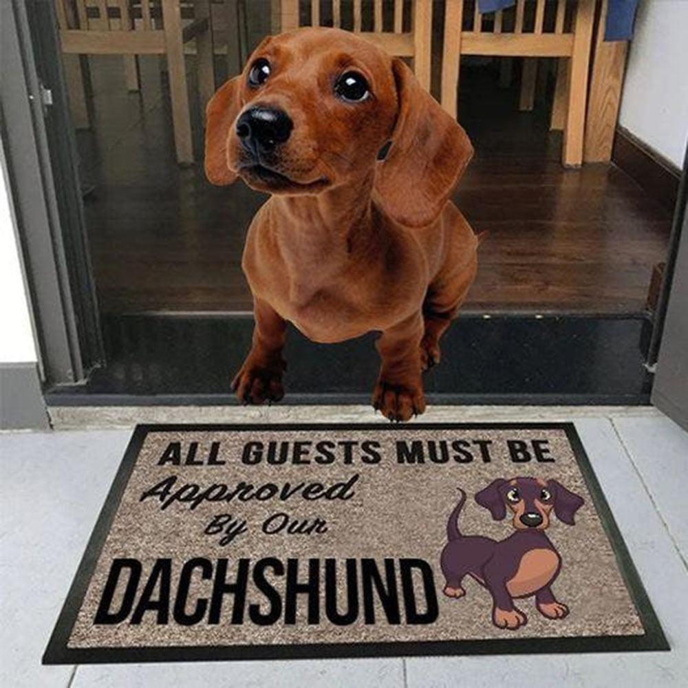 vintage all guests must be approved by our dachshund doormat 1