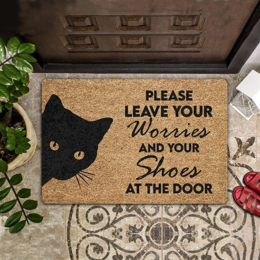vintage black cat please leave your worries and your shoes doormat 1