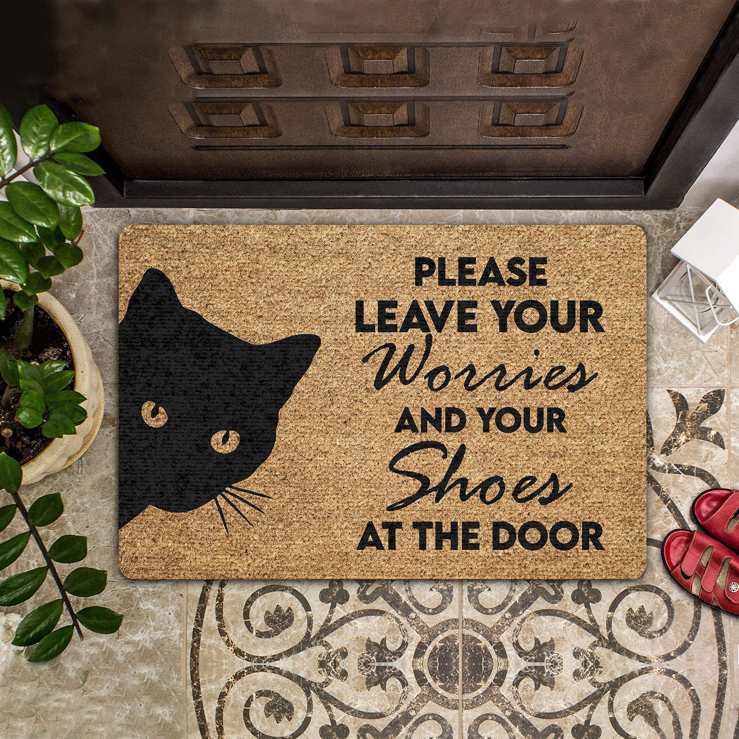 vintage black cat please leave your worries and your shoes doormat 1 - Copy