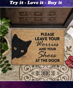 vintage black cat please leave your worries and your shoes doormat