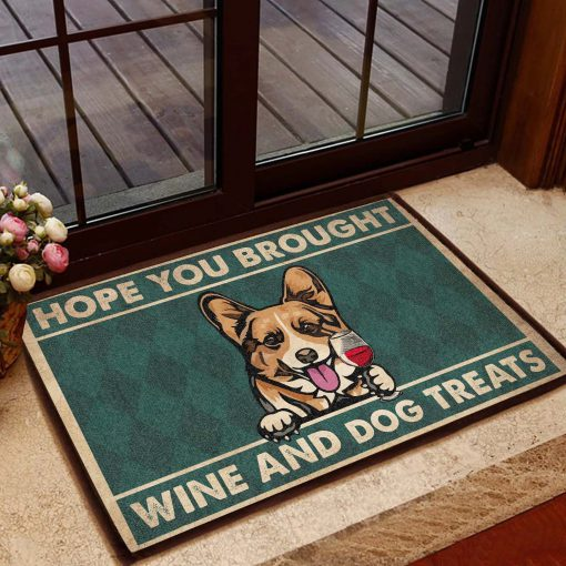 vintage corgi hope you brought wine and dogs treats doormat 1