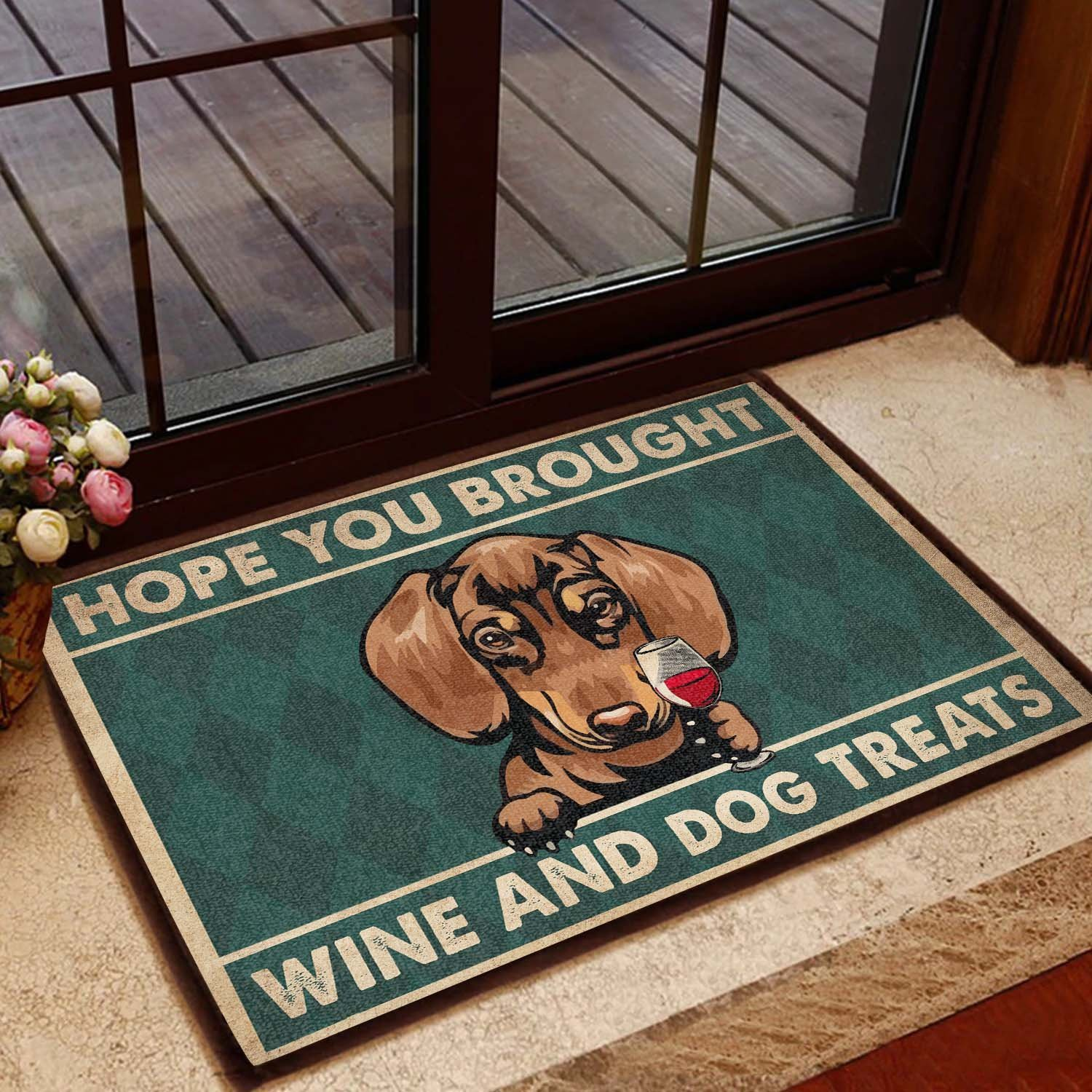 vintage dachshund hope you brought wine and dogs treats doormat 1