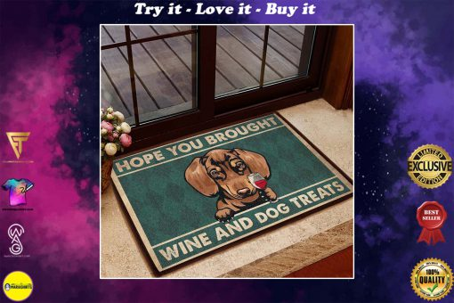vintage dachshund hope you brought wine and dogs treats doormat