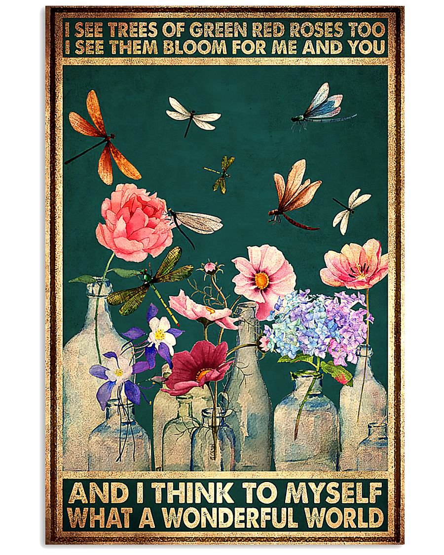 vintage dragonfly and flower i see trees of green red roses poster 1