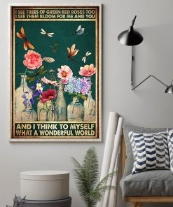 vintage dragonfly and flower i see trees of green red roses poster 2