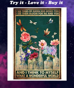 vintage dragonfly and flower i see trees of green red roses poster