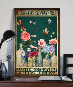 vintage dragonfly and flower i see trees of green red roses poster 3