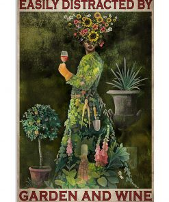 vintage garden girl easily distracted by garden and wine poster 1