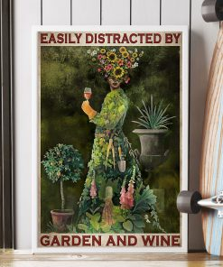 vintage garden girl easily distracted by garden and wine poster 2