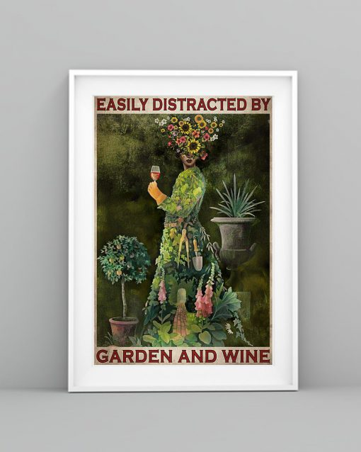 vintage garden girl easily distracted by garden and wine poster 3