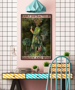 vintage garden girl easily distracted by garden and wine poster 4