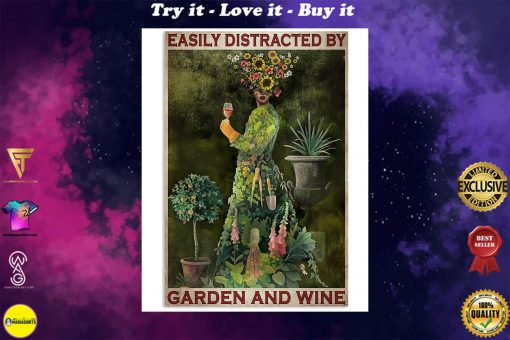 vintage garden girl easily distracted by garden and wine poster