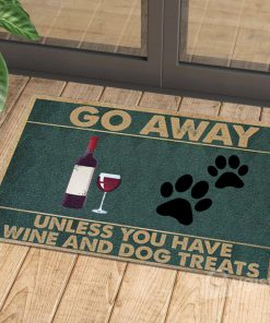 vintage go away unless you have wine and dog treats doormat 1