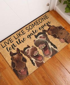 vintage horse live life someone left the gate open doormat 1