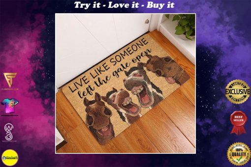 vintage horse live life someone left the gate open doormat