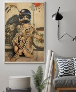 vintage motorcycle girl i am strong beautiful smart poster 2