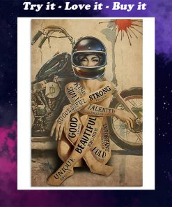 vintage motorcycle girl i am strong beautiful smart poster