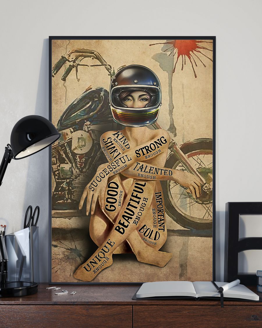 vintage motorcycle girl i am strong beautiful smart poster 3