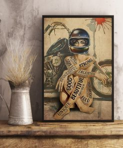 vintage motorcycle girl i am strong beautiful smart poster 4