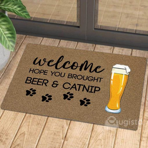 vintage welcome hope you brought beer and catnip doormat 1