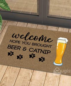 vintage welcome hope you brought beer and catnip doormat 1 - Copy
