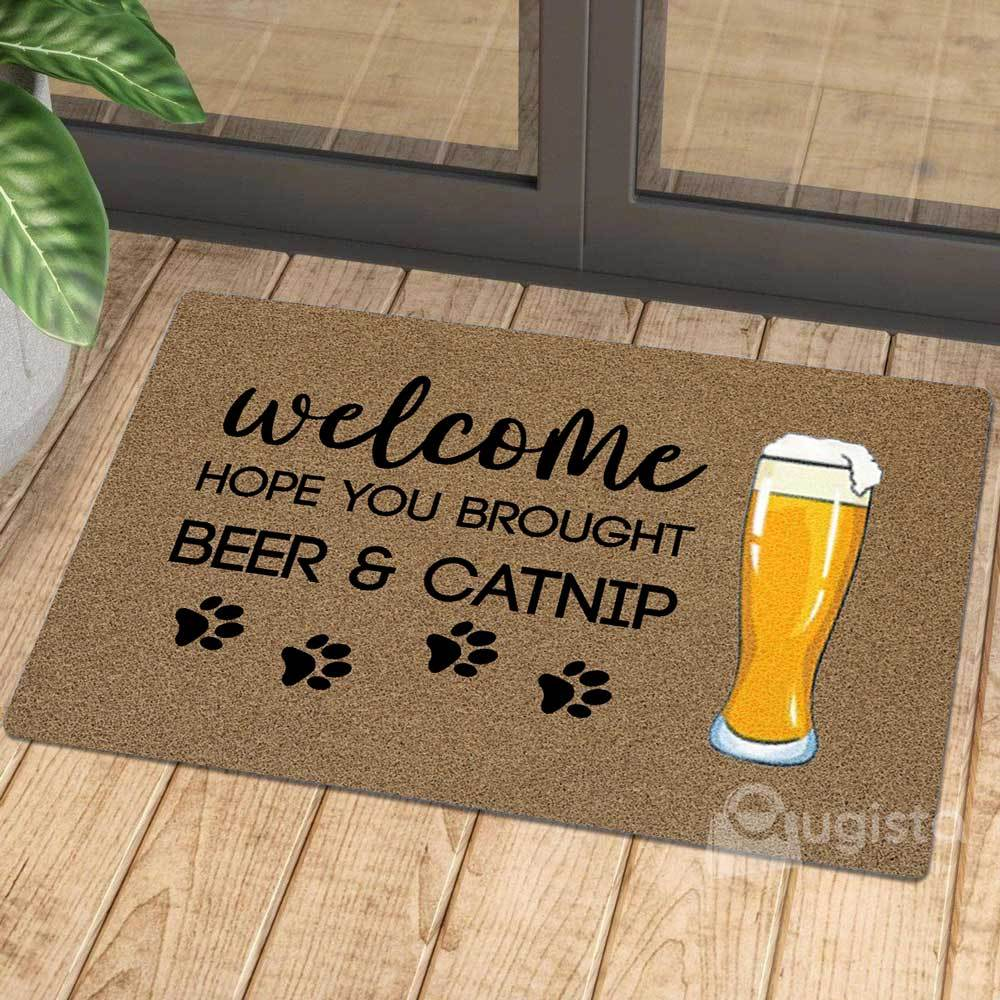 vintage welcome hope you brought beer and catnip doormat 1 - Copy (3)