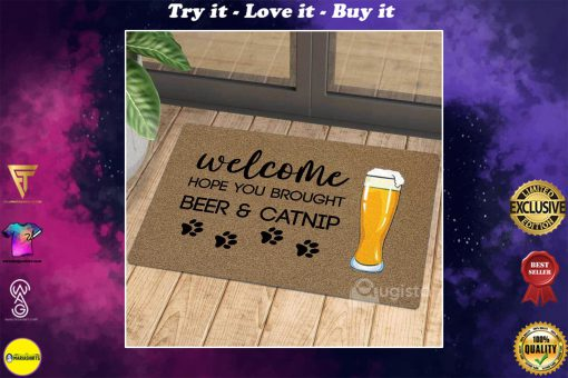 vintage welcome hope you brought beer and catnip doormat