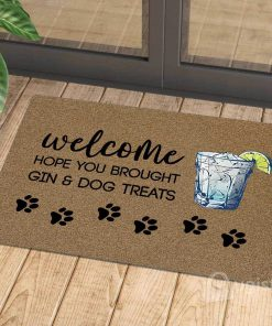 vintage welcome hope you brought gin and dog treats doormat 1 - Copy (2)