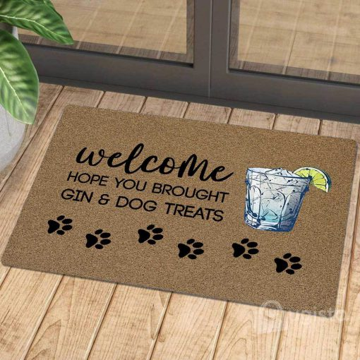 vintage welcome hope you brought gin and dog treats doormat 1 - Copy