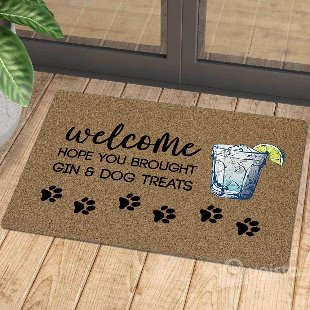 vintage welcome hope you brought gin and dog treats doormat 1