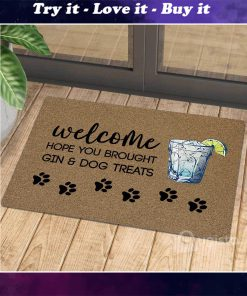 vintage welcome hope you brought gin and dog treats doormat