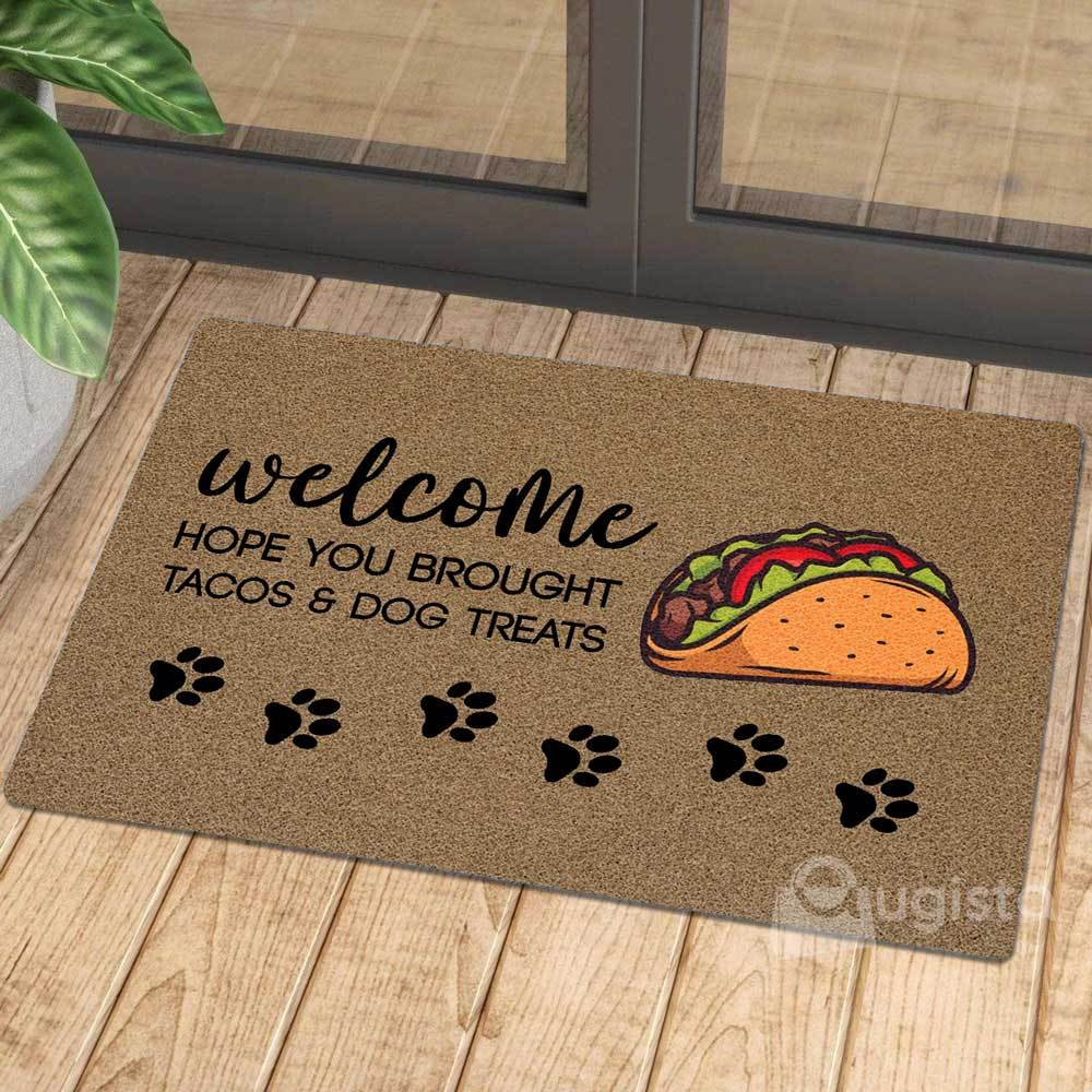 vintage welcome hope you brought tacos and dog treats doormat 1