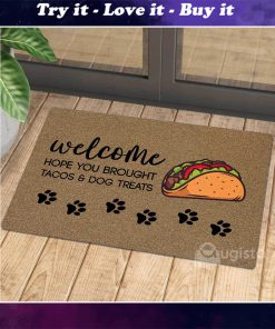vintage welcome hope you brought tacos and dog treats doormat