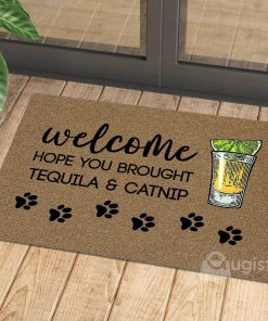 vintage welcome hope you brought tequila and catnip doormat 1 - Copy (3)