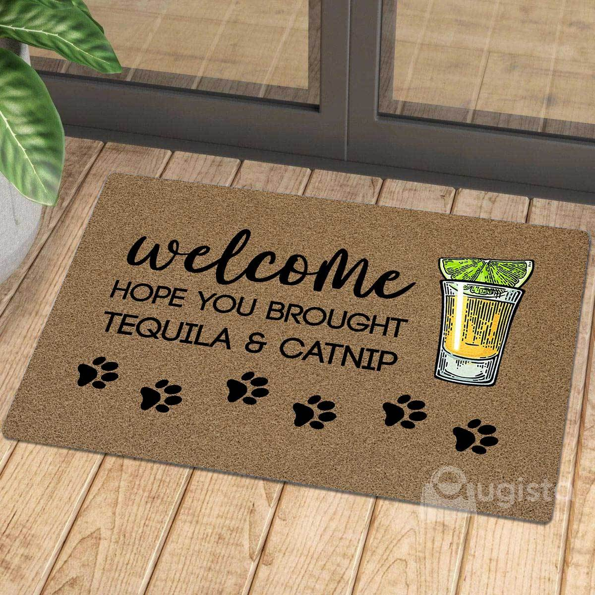 vintage welcome hope you brought tequila and catnip doormat 1