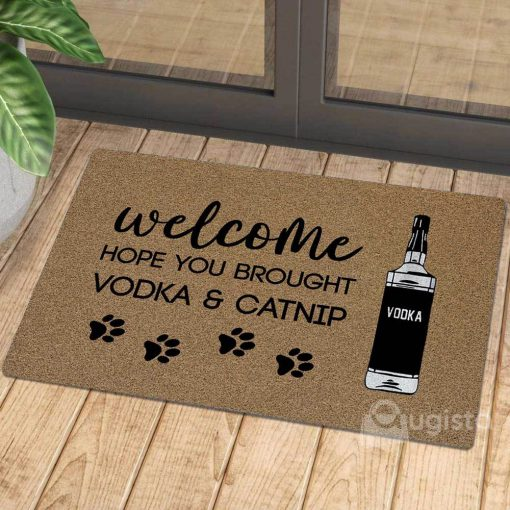 vintage welcome hope you brought vodka and catnip doormat 1 - Copy