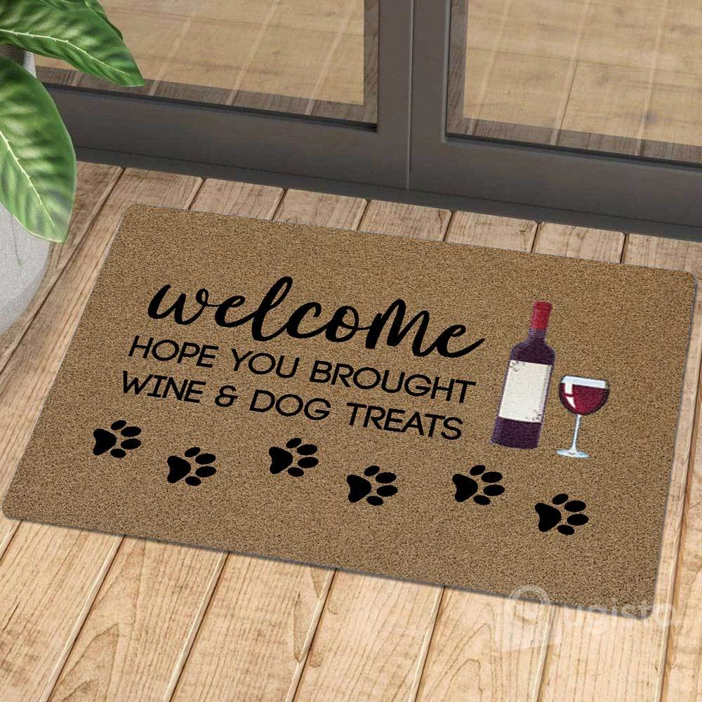 vintage welcome hope you brought wine and dog treats doormat 1