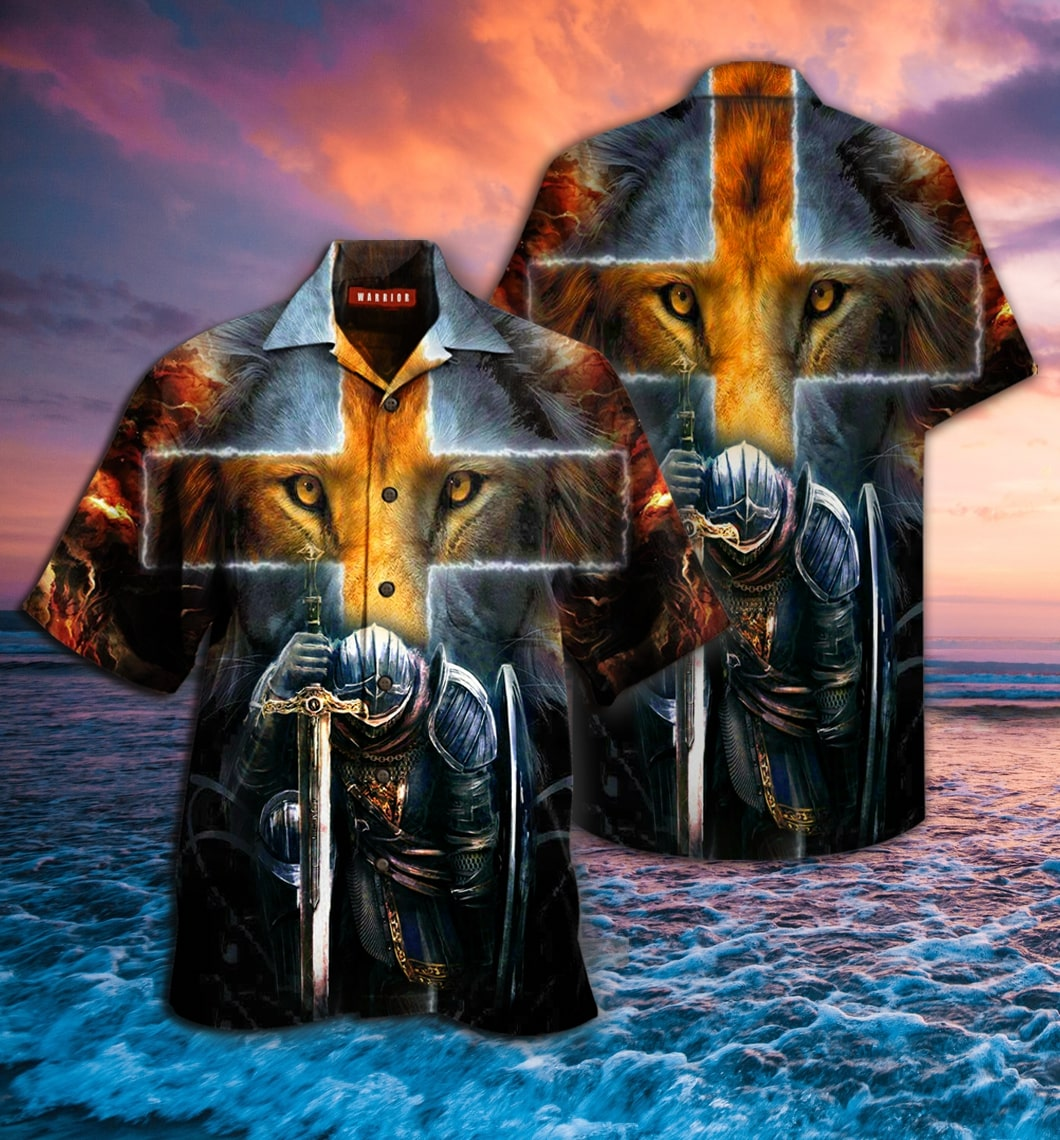 warrior of Christ lion cross full printing hawaiian shirt 1