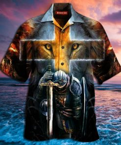 warrior of Christ lion cross full printing hawaiian shirt 3